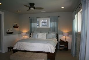 1 tag modern guest bedroom with draw draperies concrete floors ceiling fan wainscoting