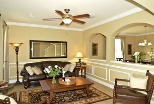 1 Tag Traditional Living Room With Crown Molding Flush Light Ceiling Fan Limestone Tile Floors