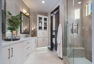 contemporary master bathroom with elemental 30 vanity light by wac lighting suburb porcelain tile - Master Bathroom
