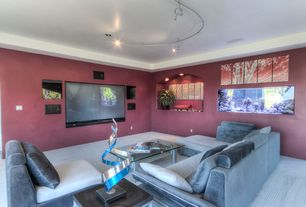 Modern Home Theater With Flush Light High Ceiling Carpet