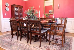 Country Dining Room With High Ceiling, Wall Sconce, Wainscoting, Carpet,  Hardwood Floors