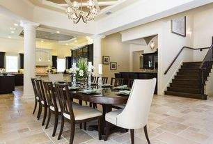 2 Tags Traditional Dining Room With Box Ceiling, Limestone Tile Floors,  Crown Molding, Chandelier, Part 84