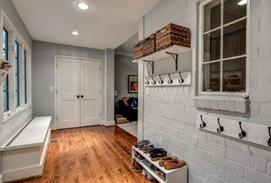Traditional Mud Room With World Market Madras Rectangular Basket, Dove  White Faux Reclaimed Brick Panel