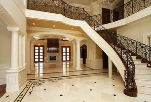 2 Tags Traditional Staircase With Pendant Light, Limestone Tile Floors,  High Ceiling