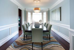 4 Tags Contemporary Dining Room With Chair Rail Crown Molding Wainscoting Armless Upholstered