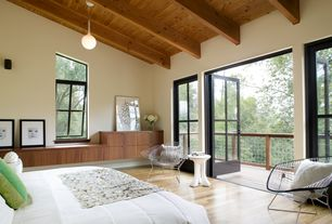 contemporary master bedroom with built in bookshelf hardwood floors balcony high ceiling - Bedroom Balcony Designs