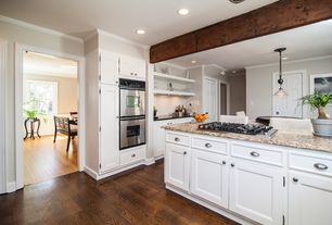 6 Tags Traditional Kitchen With Lynden Flat Panel, Kitchen Island, Red Oak    Saddle Solid Hardwood