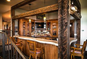Merveilleux 2 Tags Rustic Bar With High Ceiling, Hardwood Floors, Pendant Light,  Built In Bookshelf