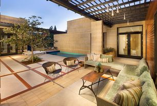 1 Tag Contemporary Patio With Trellis, Rockwood Thermally Modified Exterior  Decking Nordic Pine, Exterior Stone Floors