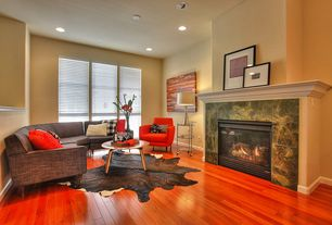 Contemporary Living Room With Cowhide Brownproble Area Rug Carpet High  Ceiling Metal Fireplace Design Ideas Pictures Zillow Digs. Wood Flooring ...