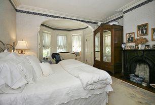 Traditional Master Bedroom With Specialty Door, Wallpaper Border, Interior  Wallpaper, Crown Molding,