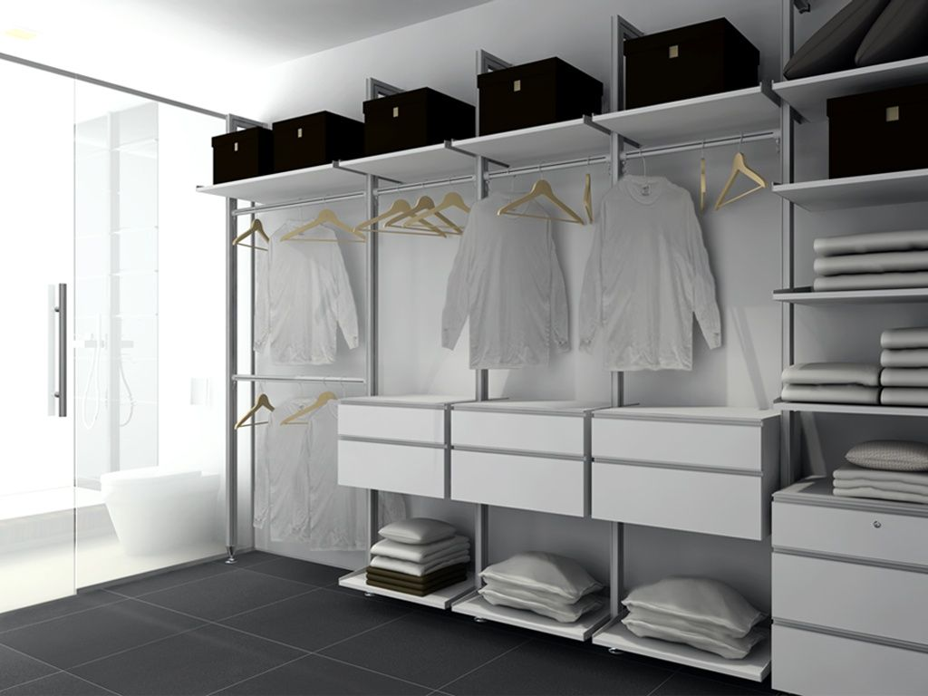 Modern Closet with Custom Modern Closets, CB2 Navy Felt Boxes, Bedrosians  Area 3D 24