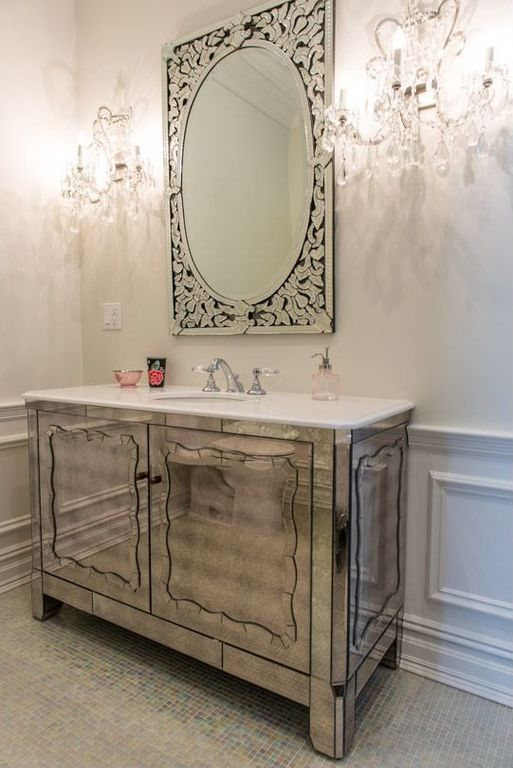 Art Deco Powder Room With Regina Mirror 36 Inch Mirrored Bathroom Vanity Imperial White Marble