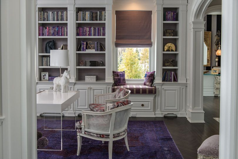 Contemporary Home Office With Arched Doorway, Built In Shelving, Roman  Shade, Jonathan