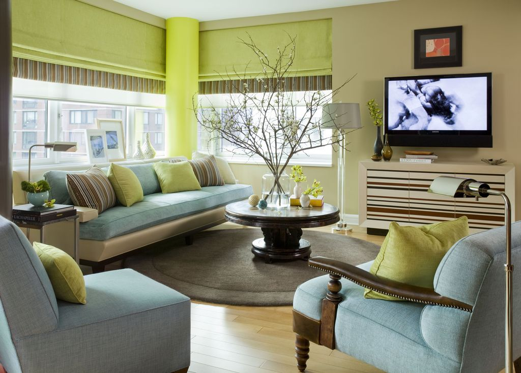 Contemporary Living Room with Roman shades by John Willey | Zillow ...