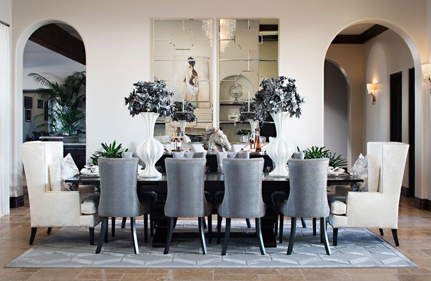 Contemporary Dining Room With Jacqueline Hostess Wing Back Occasional Dining  Arm Chair, Wall Sconce,