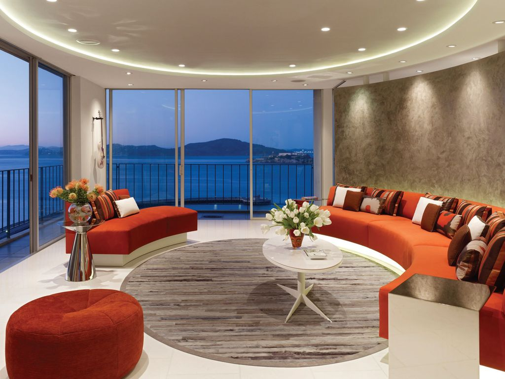 modern living room with concrete tilemark english architect