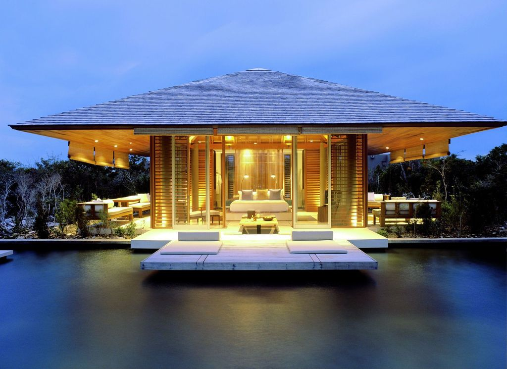 Contemporary Exterior Of Home With Indoor/outdoor Living, Exterior Accent  Lighting, Glass Sliding