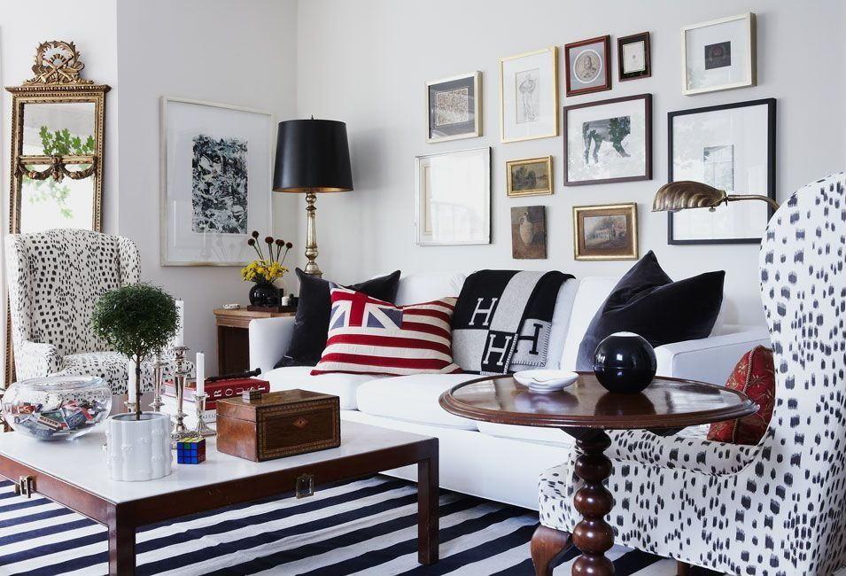 Contemporary Living Room With Striped Area Rug, Wall Art, Wood Coffee  Table, Wood