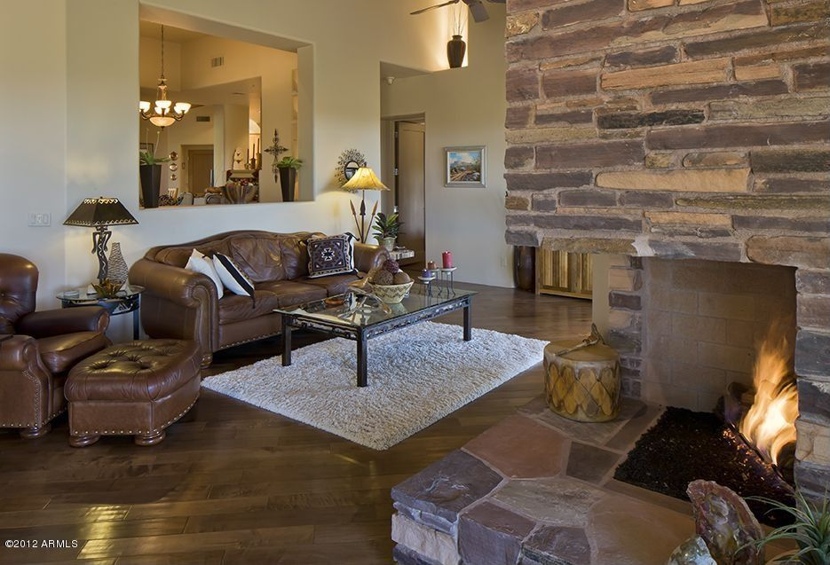 Country Living Room with High ceiling Carpet in Scottsdale AZ