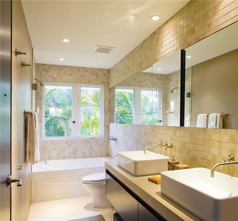 Contemporary Full Bathroom With Drop-In Bathtub & European