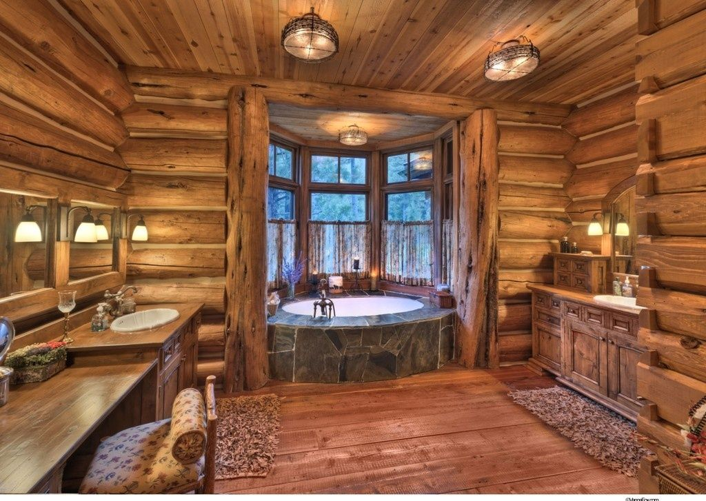 rustic 3 4 bathroom with drop in bathtub log house zillow digs zillow