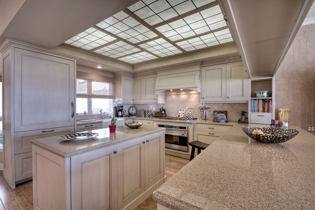 Traditional Kitchen With Box Ceiling, Skylight, U Shaped, Decorative  Fluorescent Light Cover