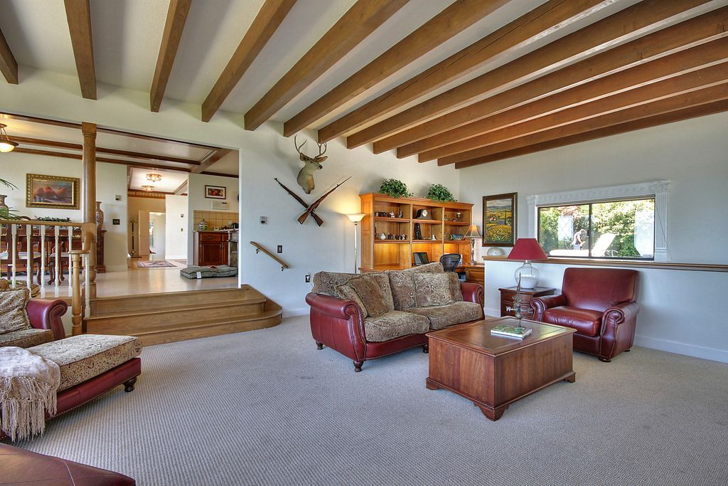 Traditional Living Room with Sunken living room & Chair rail in ...