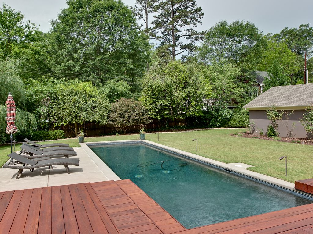 contemporary swimming pool with lap pool u0026 wood decking in