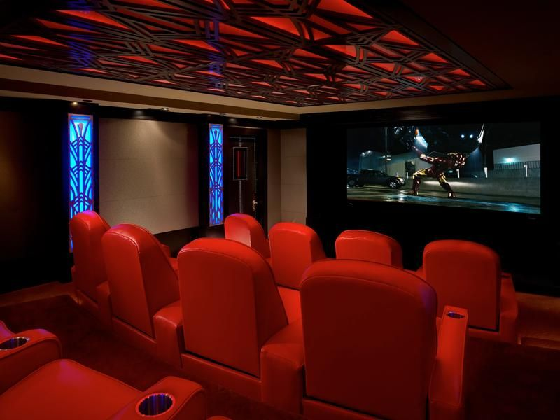modern home theater with high ceiling carpet - Modern Home Theater