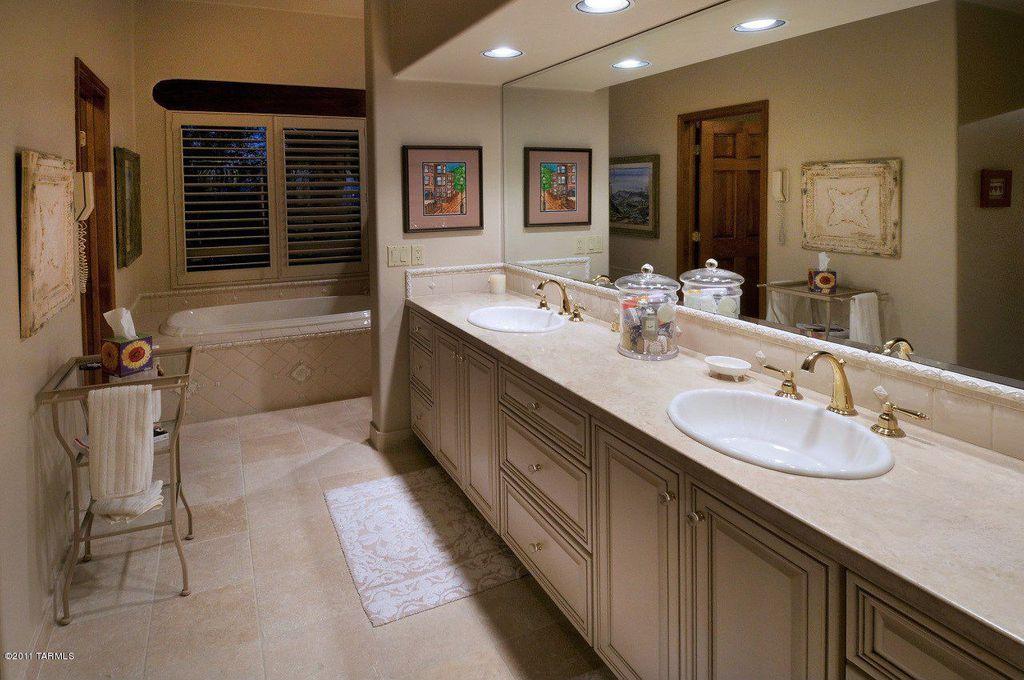 Bathroom Sinks Tucson traditional master bathroom with raised panel & stone tile in