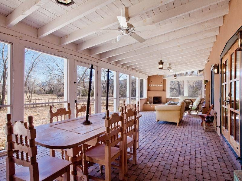 country porch with screened porch outdoor pizza oven exterior brick floors french doors - Outdoor Screened Porches