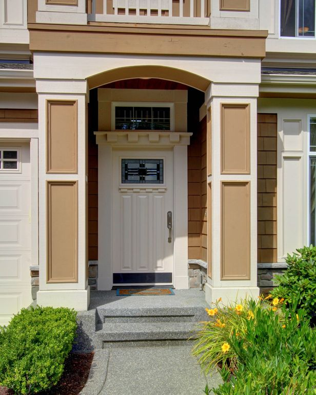Craftsman Front Door with Transom window exterior awning in