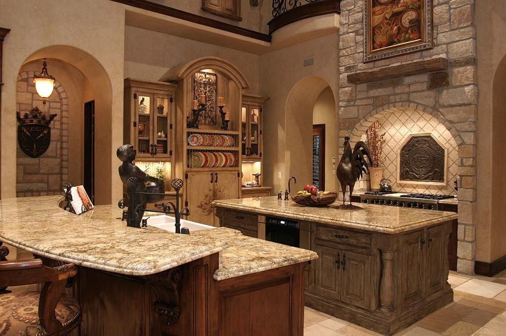 Mediterranean Kitchen With Tuscany Beige Pattern Honed Unfilled Chipped Travertine Floor And Wall Tile