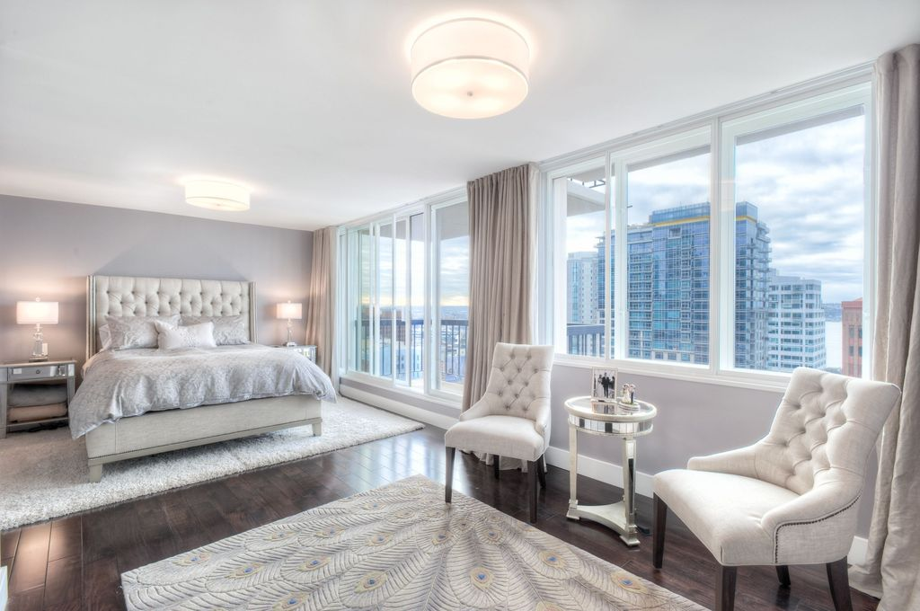 Traditional Master Bedroom With Carpet Flush Light Moda Chrome Peacock Bursts Rug