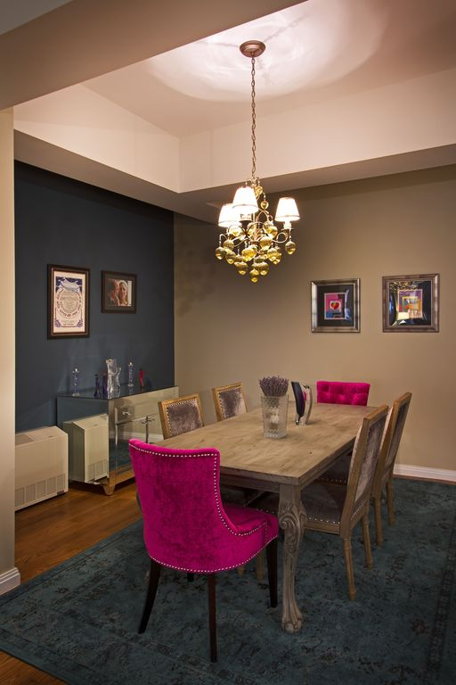 Eclectic Dining Room With Regal Area Rug Plum Velvet Paige Square Back Chairs