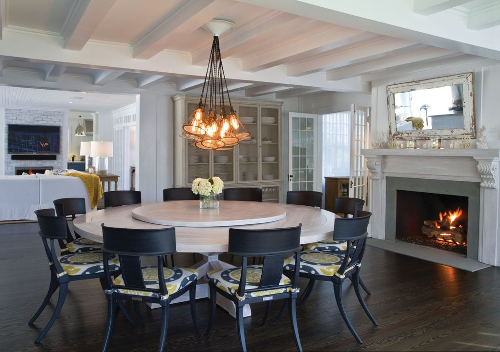 Contemporary Dining Room With Restoration Hardware Klismos Luxe Side Chair,  Custom 80 Inch Round Table