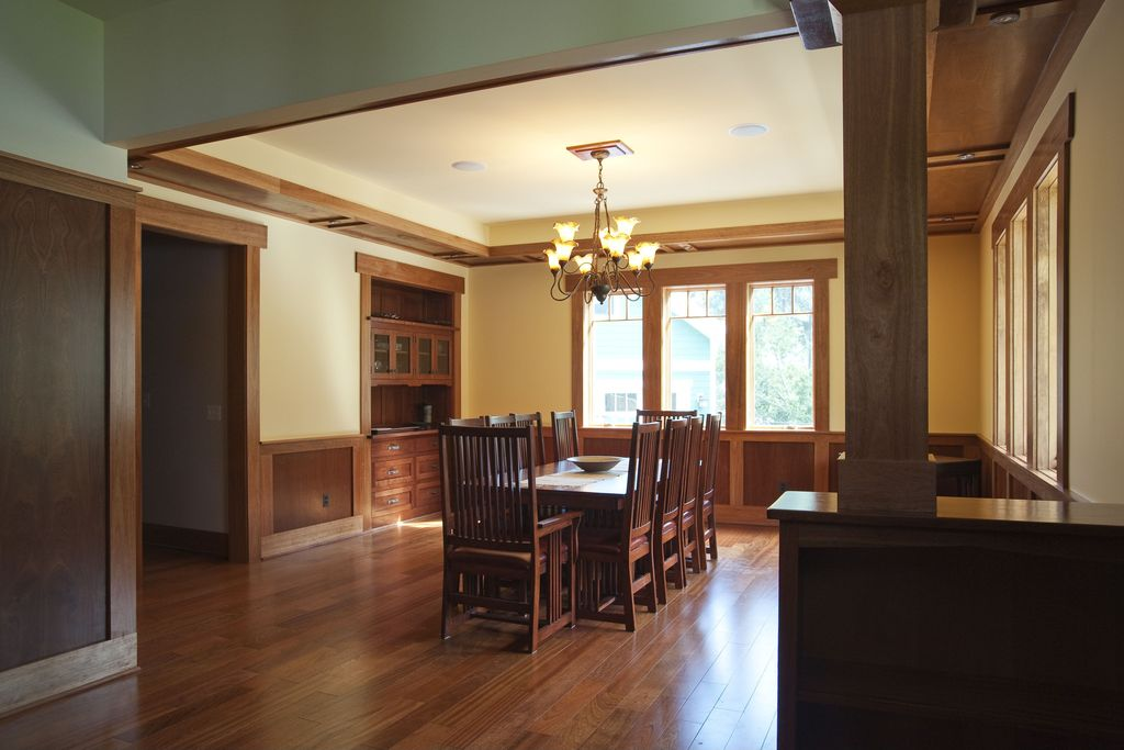 Craftsman Dining Room with Wainscoting & Chair rail | Zillow Digs ...