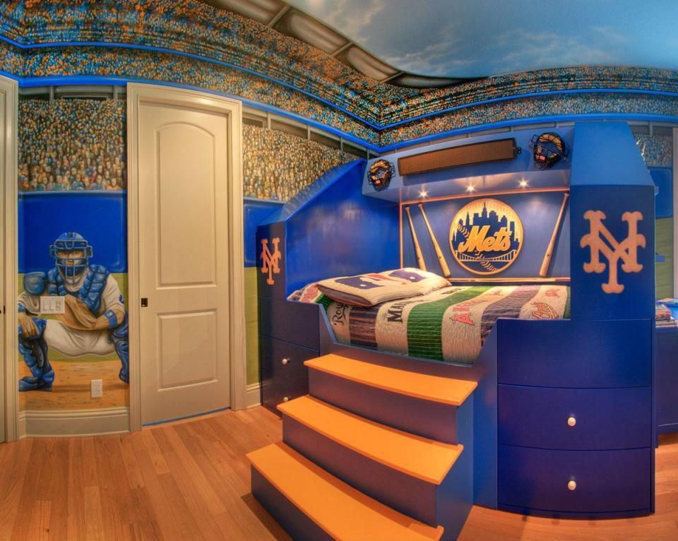 Modern Kids Bedroom With Raised Bed Sports Themed