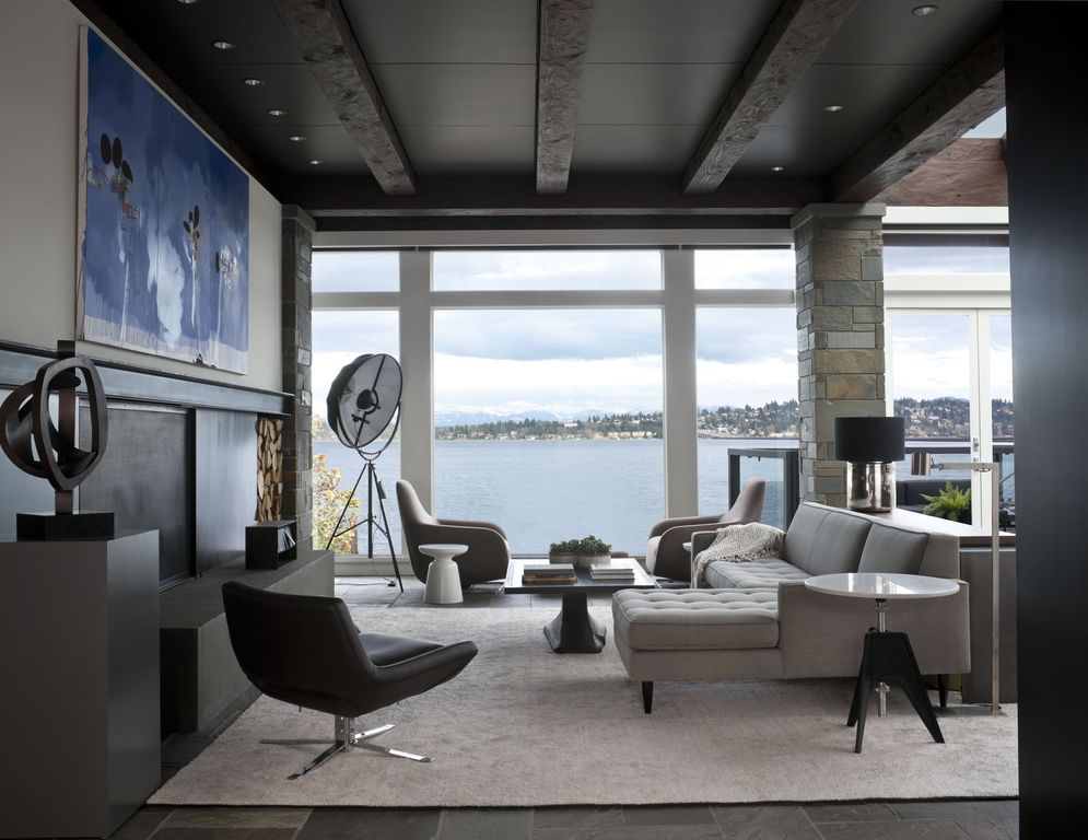 Contemporary living room with columns by nb design group for Columns in living room ideas