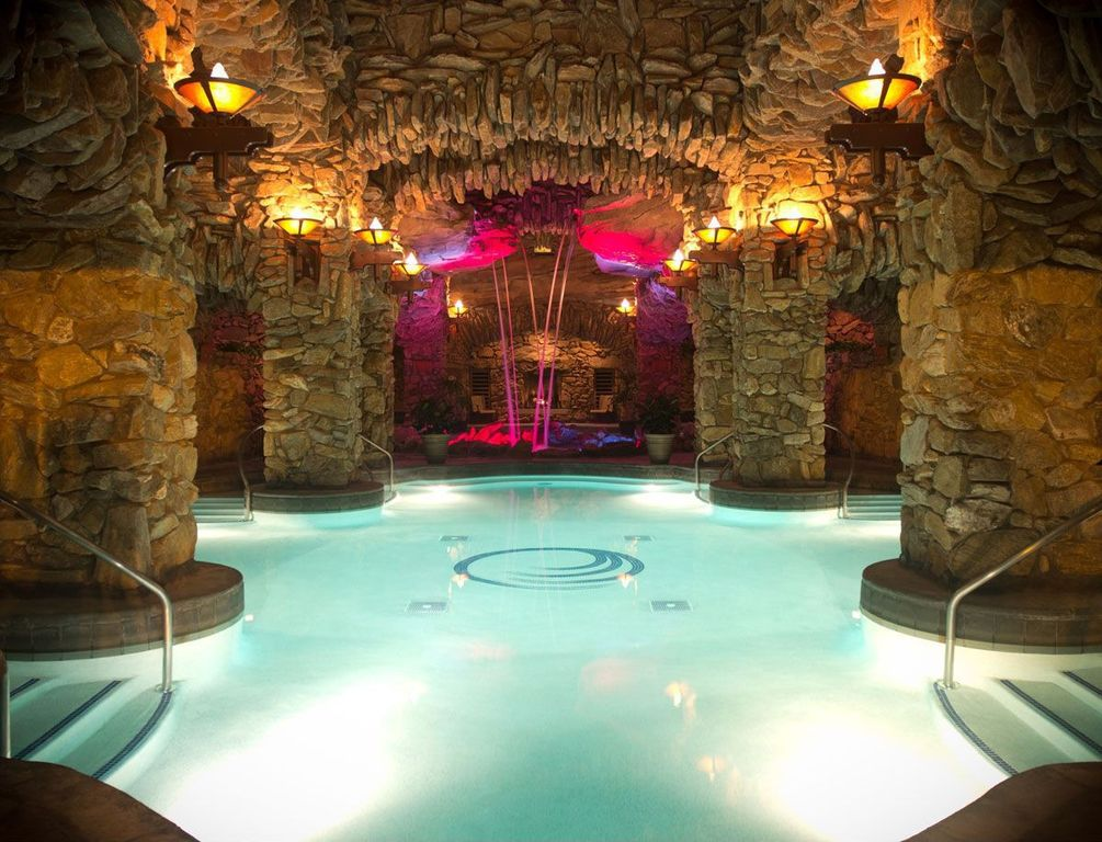 contemporary swimming pool with grotto custom pool at the grove park inn asheville - Swimming Pools With Grottos