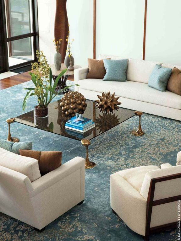 Contemporary Living Room With High Borosilicate Glass Flower Pot Laminate Floors Safavieh Serenity Turquoise
