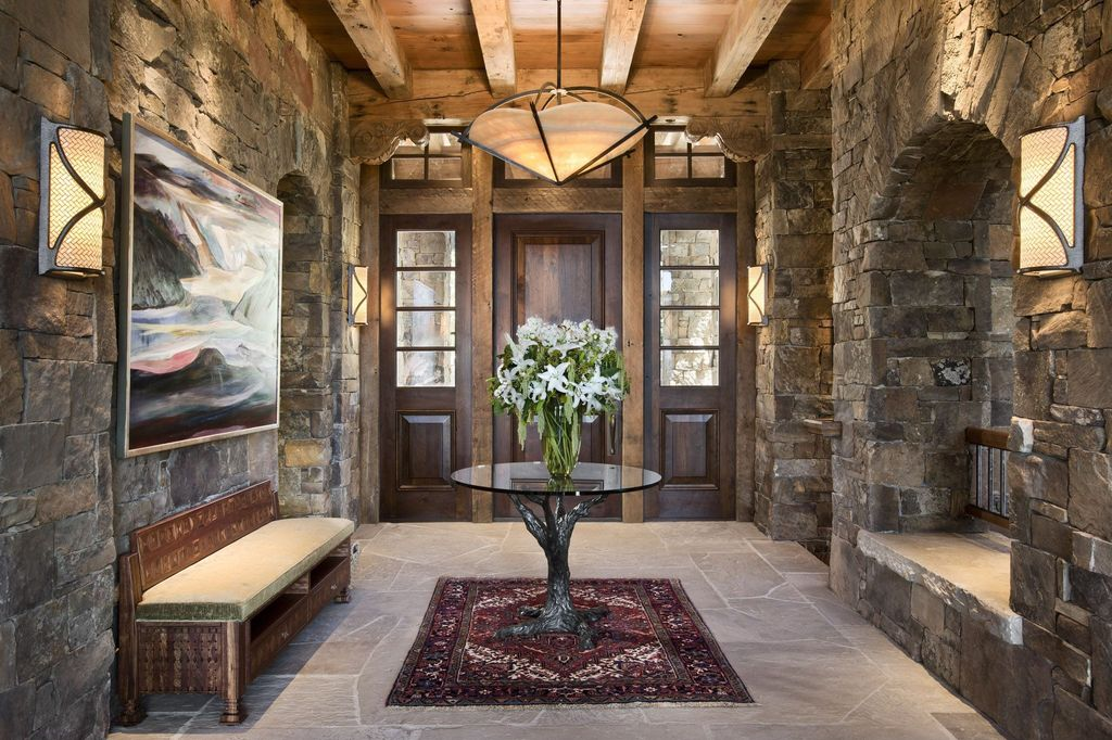 Rustic Entry Foyer Lighting : Rustic entryway with pendant light by locati architects