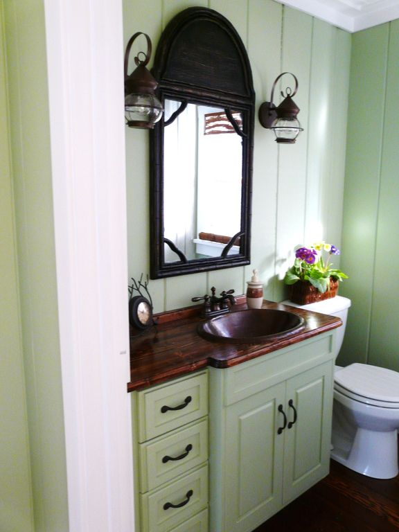 Cottage Powder Room With Drop In Sink, Ships Watch Outdoor Light Small,  Powder