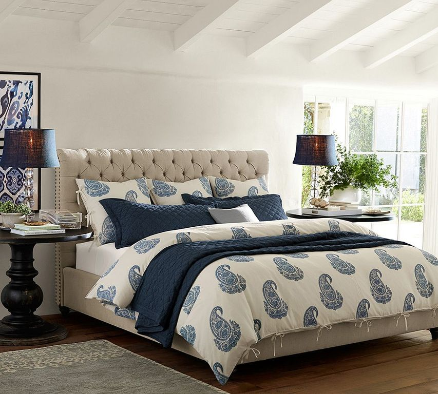 Traditional master bedroom with hardwood floors by pottery for Pottery barn bedroom designs
