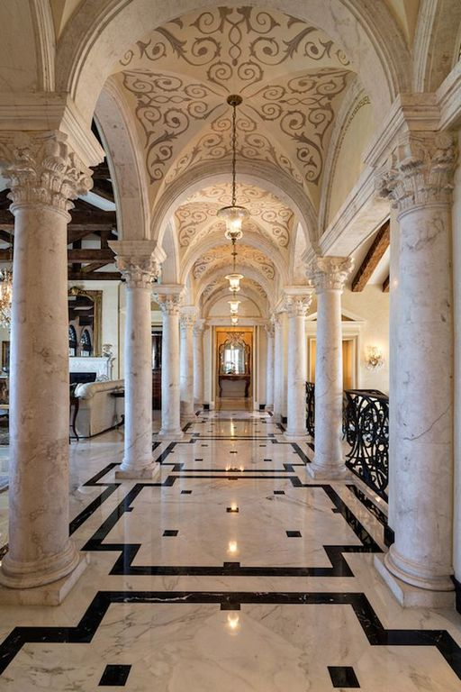 Traditional hallway with columns simple marble tile Crown columns