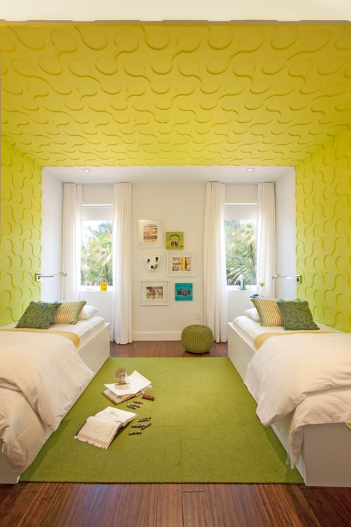 5 Tags Contemporary Kids Bedroom With Fedora Chartreuse Flor Tiles Circuit 4 3d Wall Panels