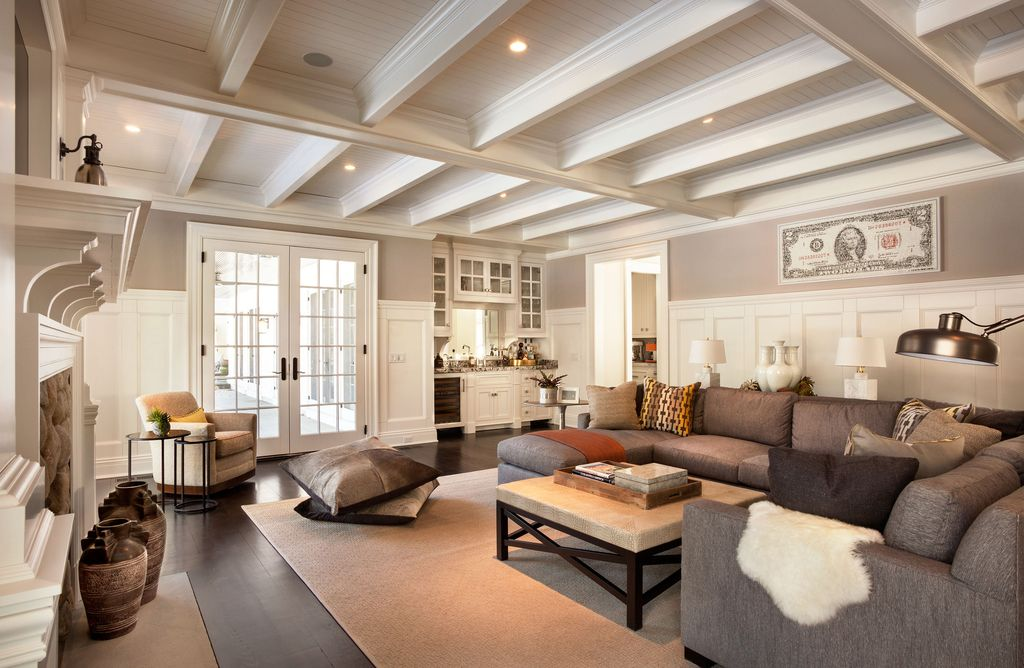 Living Room With Box Ceiling By Garrison Hullinger