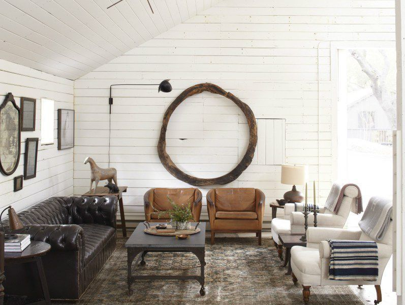 Contemporary Living Room With Cambridge Leather Sofa, Wall Sconce, Painted  Wood Walls, 18th