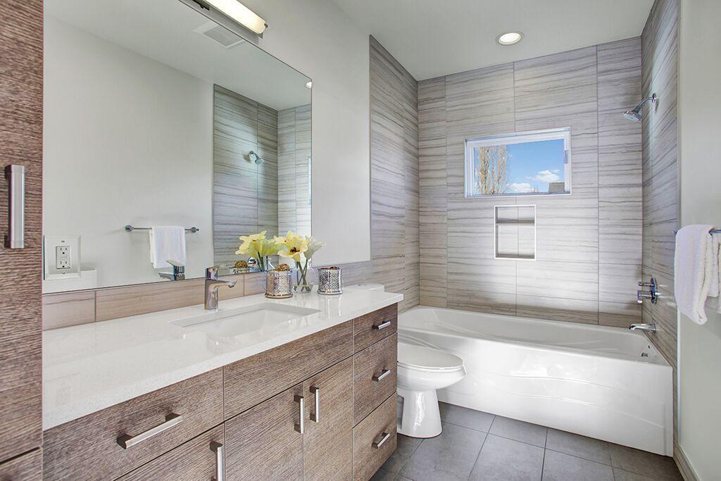 Contemporary Full Bathroom With Undermount Sink, George Kovacs Tube 3 Light  Bath Light,